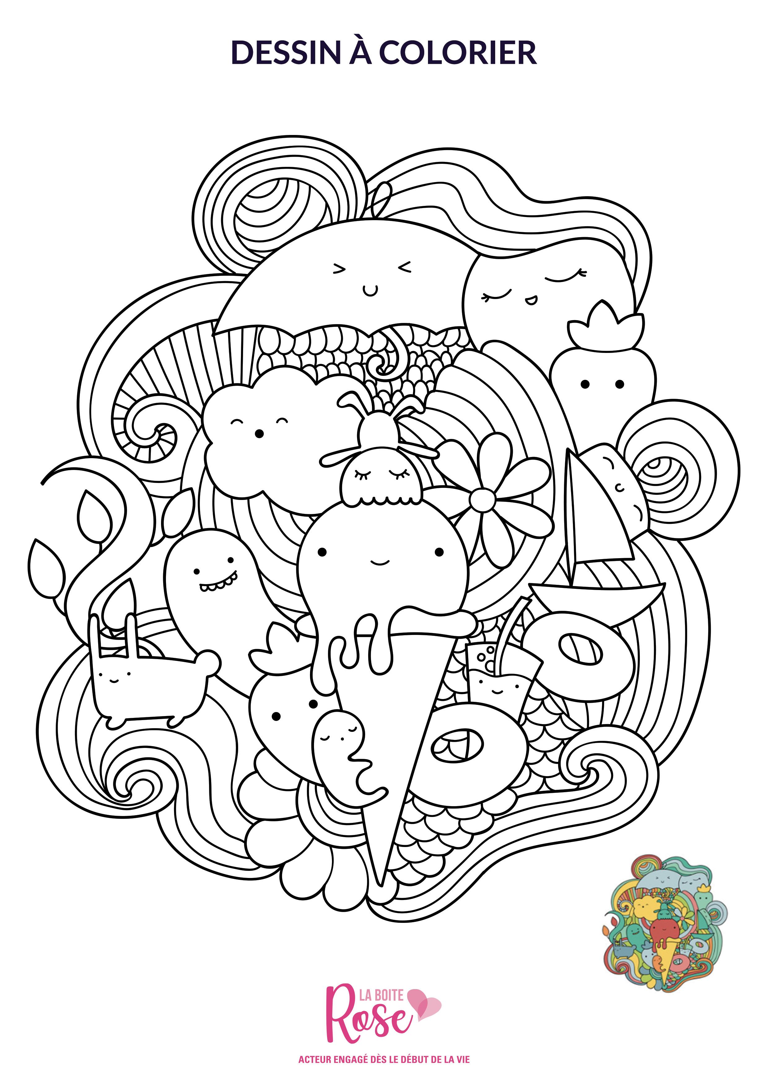 Votre Coloriage De Lété à Imprimer La Boîte Rose